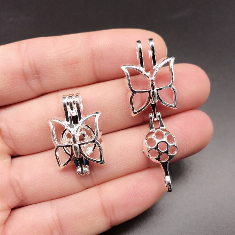 10pcs Bright Silver Butterfly Pearl Cage Jewelry Making Bead Cage Pendant Aroma Essential Oil Diffuser Locket For Oyster Pearl