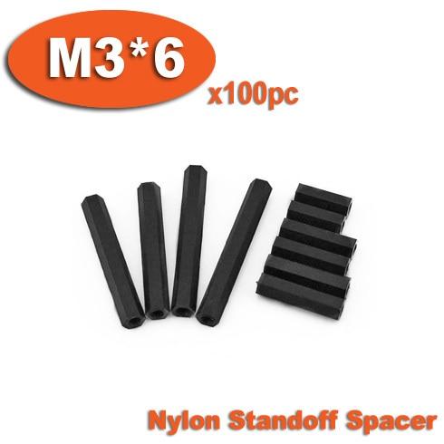 100Pcs M3x6mm Male to Female Thread Hex Standoff Hexagonal Spacer