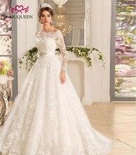 תחרה אפליקציות לטאטא רכבת ערבי כבוי כתף ארוך שרוולים מוסלמי כדור שמלת חתונה שמלת נסיכת חתונה שמלות W0071