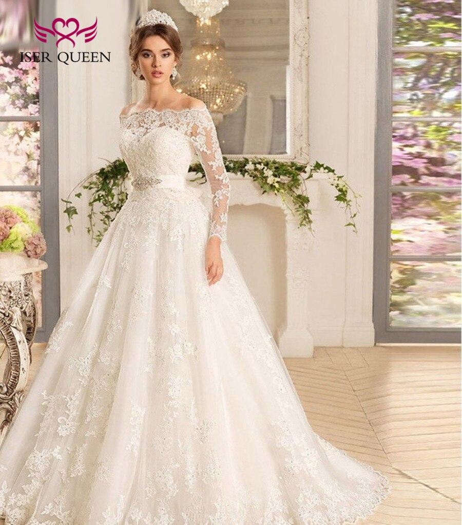 2019 Lace Appliques Sweep Train Arab Off Shoulder Long Sleeves Muslim Ball Gown Wedding Dress Princess Wedding Dresses W0071