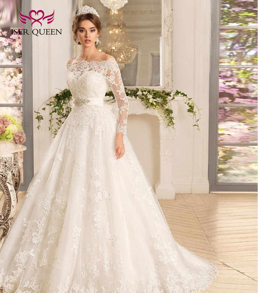 bc49a0b75024 Detail Feedback Questions about Off Shoulder Long Sleeves Muslim Ball Gown  Wedding Dress 2019 Lace Appliques Sweep Train Arab Princess Wedding Dresses  W0071 ...