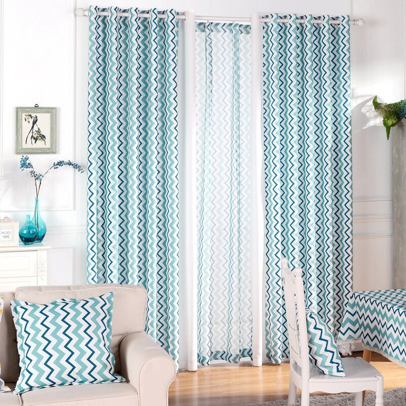 Blue Modern Geometric Striped Cotton And Linen Mixed Curtain For Bedroom Living Room  Ripple Stiching Customized
