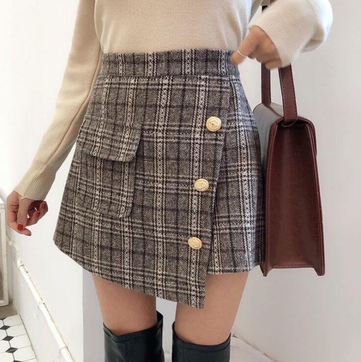 a7956e07f3 Detail Feedback Questions about New Winter Hong Kong style retro chic all  match A bag hip irregular skirt high skinny plaid pantskirt on  Aliexpress.com ...