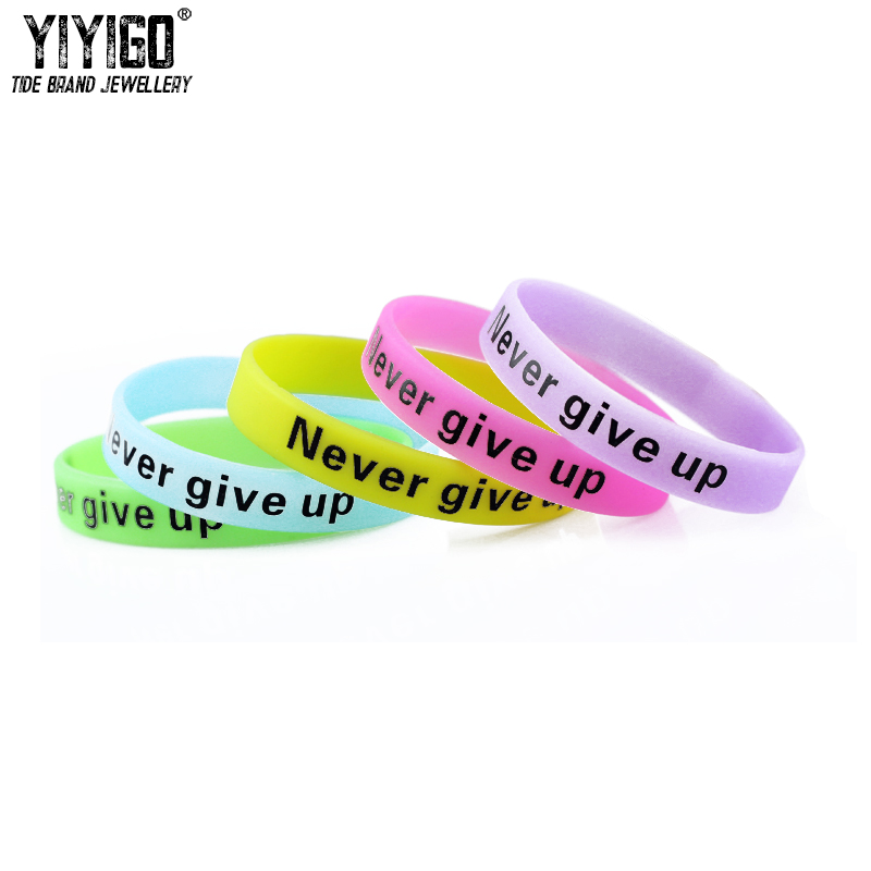 Never give up Customize luminous printing silicone bracelet fashion simple wristband chain manufacturers wholesale custom