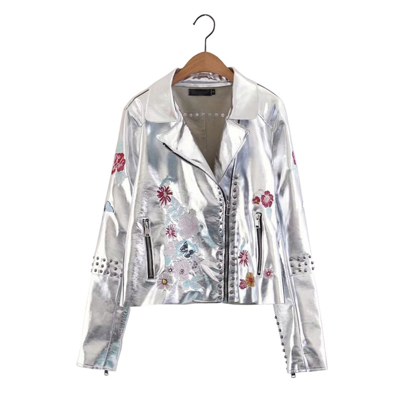 Europe Style Floral Embroidery Rivet   Leather   Jacket Women Short PU Coat 2019 Fashion Metal Silver Motorcycle Faux   Leather   Jacket