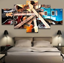 5 Piece HD Print Painting Guitar Music Modern Decorative Paintings on Canvas Wall Art for Home Decorations Decor Artwork