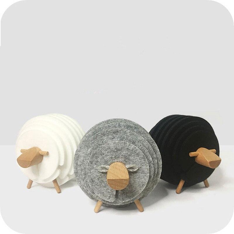 Forma di pecora Antiscivolo Sottobicchieri Bere Isolato In Feltro Rotondo Stuoie della Tazza di Stile Del Giappone Creativo Casa/Ufficio Decorazione in Stile Nordico regalo