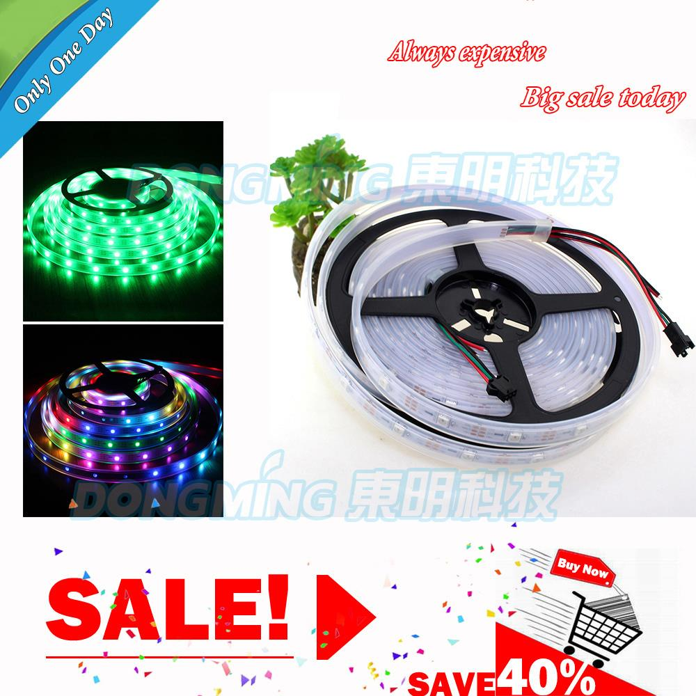5m/lot Digital Waterproof RGB LED Strip Light DC 12V 30IC WS2812B Magic Color Changeable Flexible Light with favorable price