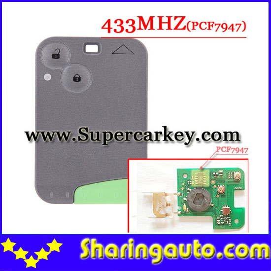 ФОТО Free shipping 2 Button 433MHZ  pcf7947 chip remote card  for Renault Laguna Espace Velsatis card without logo  (1piece)
