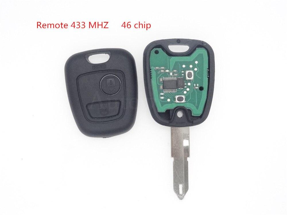 Prix pour Remplacer Clé De Voiture À Distance Fob 2 Bouton 433 MHz ID46 pour Peugeot 206 noir couleur 1 pc auto pièces avec à distance avec puce avec étiquette