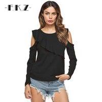 FKZ 2017 Fashion Women Summer T Shirt Solid O Neck Full Sleeve Off Shoulder Clothing Female