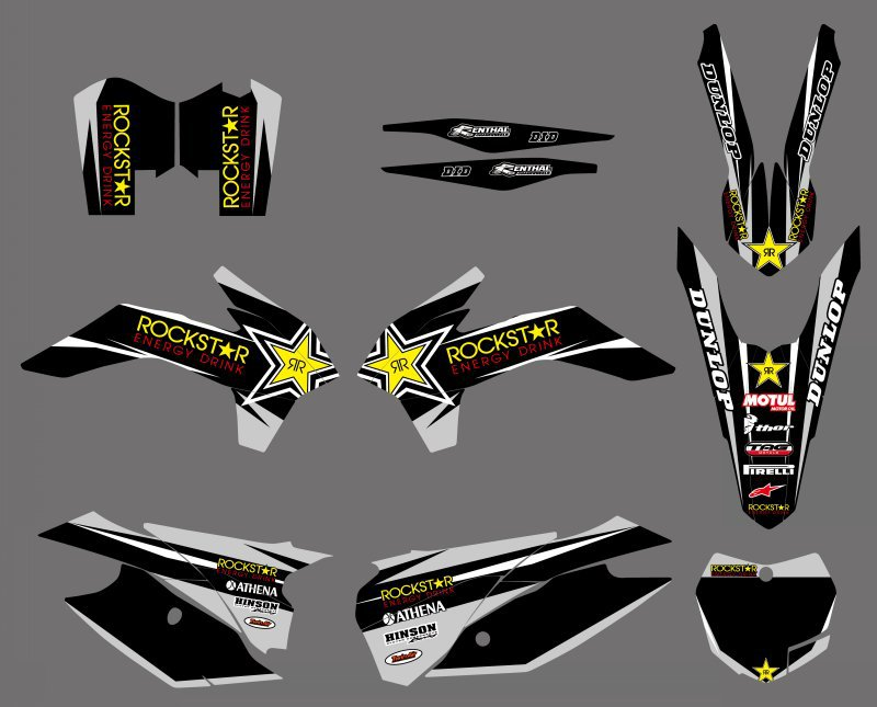 0483 Black Star  NEW STYLE TEAM  GRAPHICS WITH MATCHING BACKGROUNDS  FOR KTM SX XC 125-450F  2013-2015  0322 star new team graphics with matching backgrounds fit for ktm sx sxf 125 150 200 250 350 450 500 2011 2012