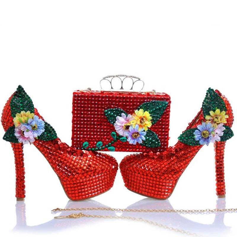 10cm Crystal Embrague Red 14cm Bolso Zapatos Juego Boda Apliques Con Rhinestone Rojo Y A Heels red Heels 12cm Nuevo Diseño Bombas Nupcial Fiesta Tacones aTCpv1Cq