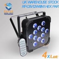 4x серия Великобритания Склад 12 шт. * 18 Вт 6in1 RGBAW + УФ IRC WI FI DMX LED Телевизор с номинальной может УФ Цвет LED Slim Par света нет налог на импорт 40 градусо