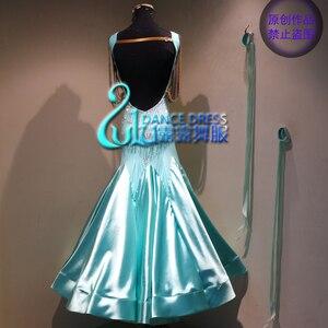Image 2 - Kadın salıncak tango vals Pürüzsüz abd 8 dans yarışması elbise Derecelendirme balo salonu dans elbise Nane Yeşil balo salonu dans elbise