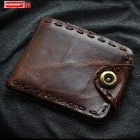 HANSOMFY Men's wallet short retro top layer cowhide handmade wallet men's vertical card coins purses