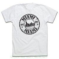 Hombres t-shirt el precio más bajo 100% algodón Miami Florida Palms Beach sello vintage camiseta para hombres-0177