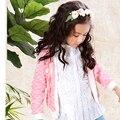 Новые поступления 2016 весна 3 4 5 6 7 8 9 10 11 12 лет девочка цветочные полный рукав 100% хлопок вязаный кардиган