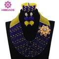 2017 Уникальный Дизайн Желтый Mix Синий Нигерийские Свадебные Африканские Бусы Ювелирные Наборы Хрустальный Цветок для Женщин Бесплатная Доставка HX841