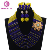 2016 Unique Design Yellow Mix Blue Nigerian Wedding African Beads Jewelry Sets Crystal Flower For