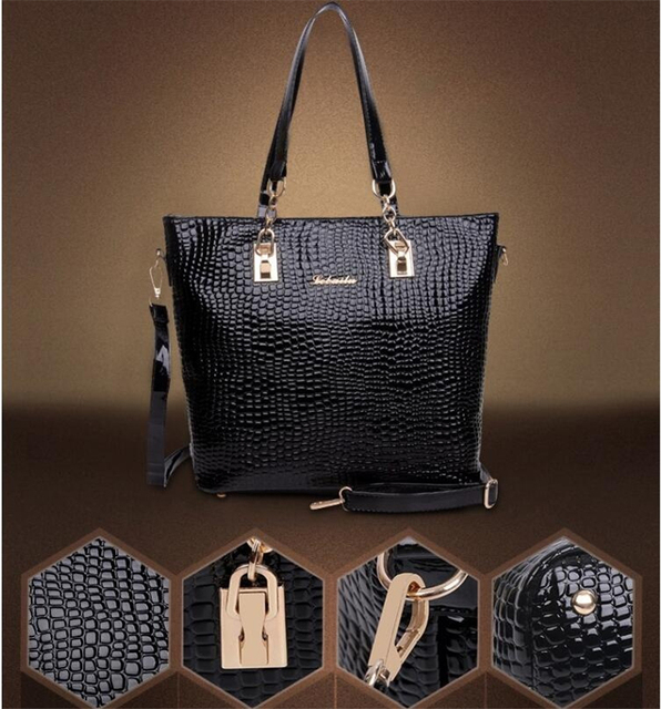 Luxury 6 Set Bags Handbag + Shoulder Bag + Tote + Wallet + Key Bag Patent Leather Design Bag for Women