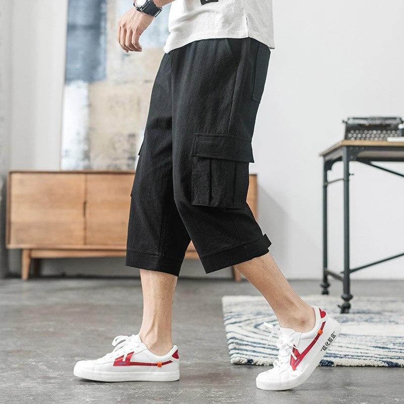 New  Summer Male Shorts Multi Pocket Summer Loose Zipper Breeches Khaki Grey Plus Size Short Pant Casual Cotton Black Long Mens