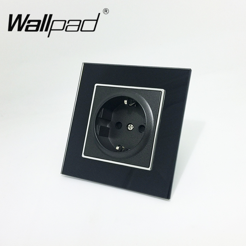 EU Socket with Claws Wallpad Tempered Black Glass Schuko EU European Standard Plug Wall Power Socket with Haken Clip Mouting