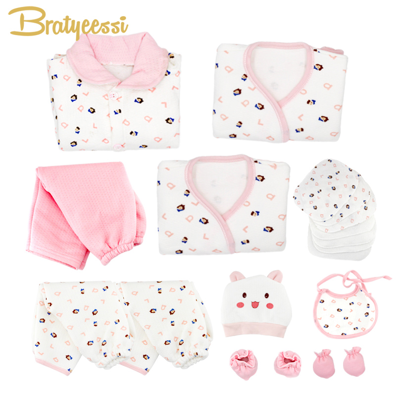 19 Pcs/Set Cotton Newborn Baby Girl Clothes Winter Autumn Baby Boy Clothing Set Cartoon Print New Born Gift 2pcs set baby clothes set boy
