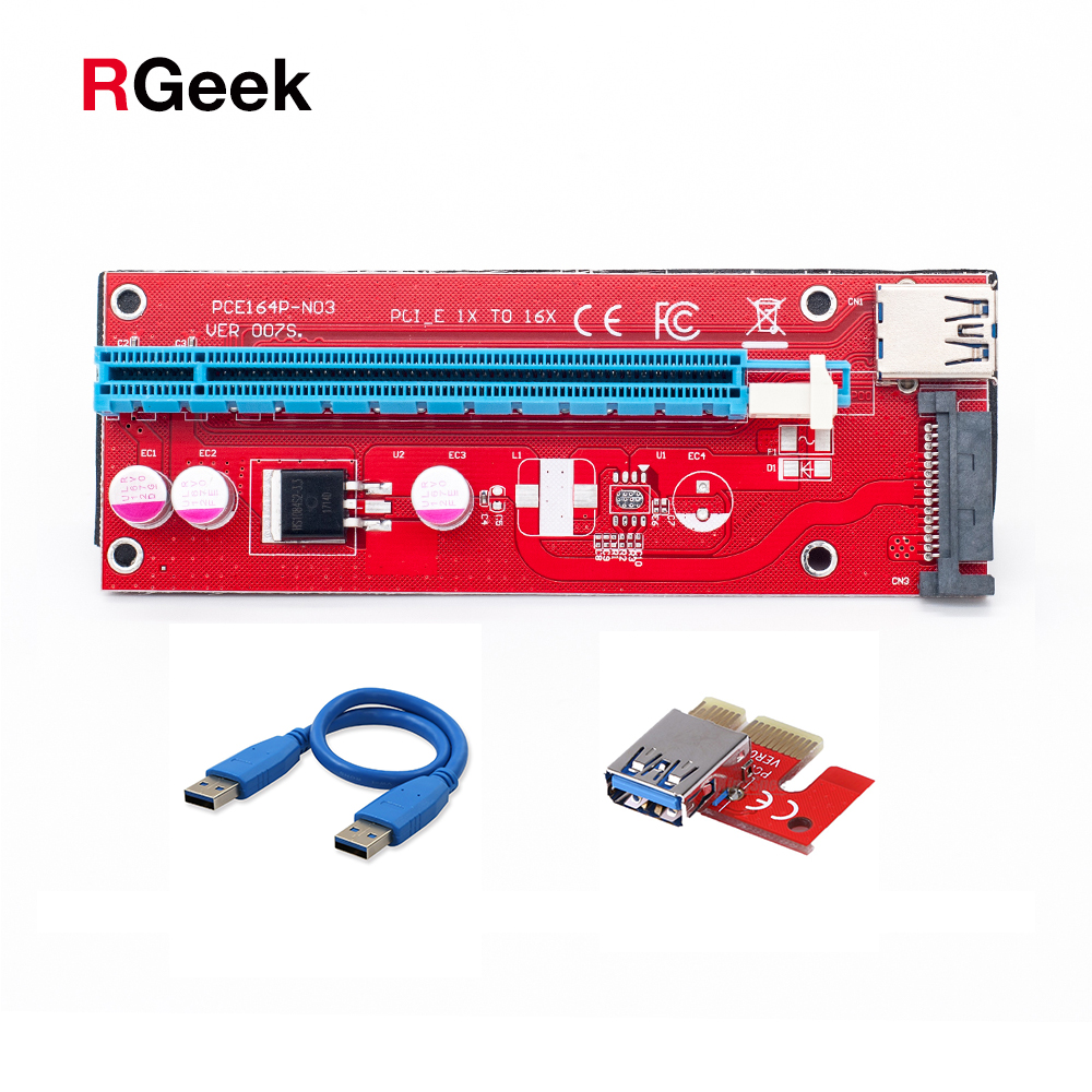 Red PCI-E 1X to 16X Riser 007S Card Extender PCI Express Adapter USB 3.0 Cable 15Pin Professional SATA Power Supply for Miner 23cc gasoline rc engine for hpi losi baja rcmk rcmax ddm zenoah g230rc chung yang cy230rc km kg230 etc powered r c car boat