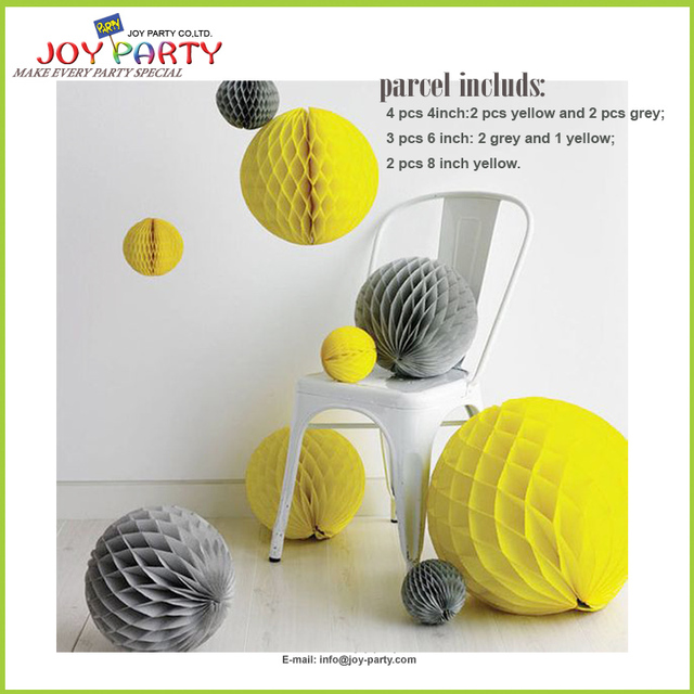 Heißer Papier Dekoration Grau Und Gelb Farbe Kombination Honeycomb Papier  Balls Party Schaufenster Dekor Favor