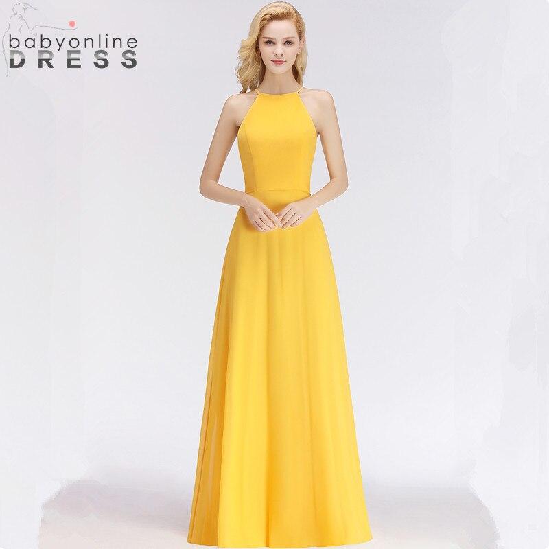 Vestido de Festa Elegant Yellow Chiffon Long   Evening     Dress   Charming Halter Neck   Evening   Party   Dresses   Robe De Soiree Longue