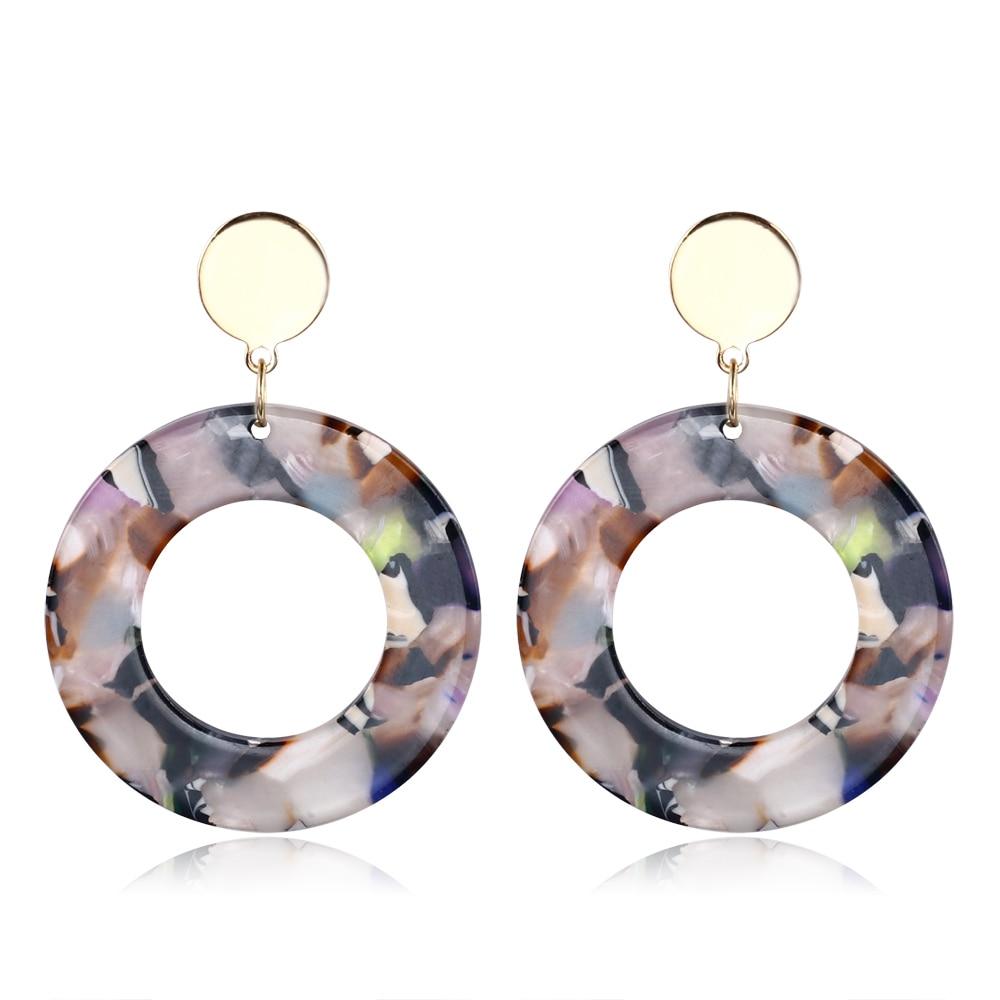 2018 New Fashion Trendy Jewelry 5 Style Simple Design Geometric Earrings round Tortoise Shell Resin Acrylic Earrings For Women