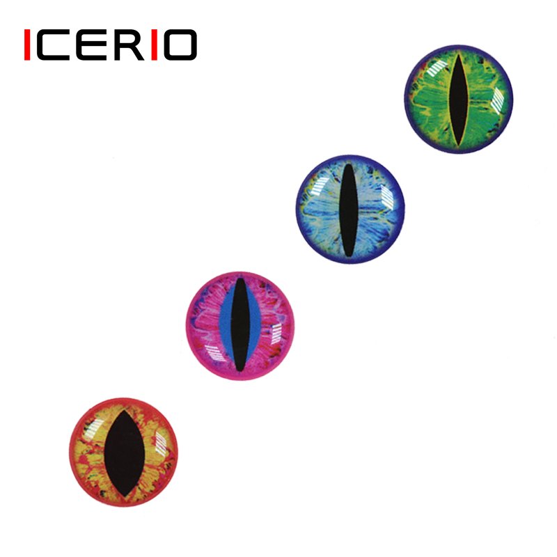 ICERIO 50PCS 3D 4D Holographic Fish Eyes Dragon Eye For Fly Tying Streamers Baitfish Wood Plastic Lures