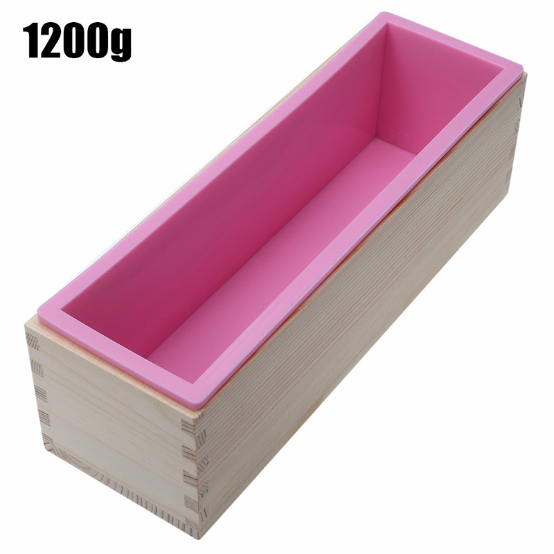 Rectangular Silicone Soap Mold Flexible Loaf Mould with Wood Box for DIY Homemade Cold Process 1200g
