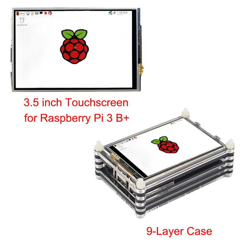 Raspberry Pi 3 B+ Touchscreen Kit 3.5'' inch LCD Touch Screen Dispaly Module + 9-layer Acrylic Case for Raspberry Pi 3 Model B+