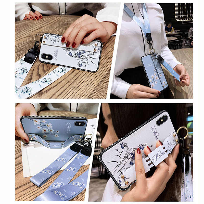 Correa de muñeca suave TPU caja del teléfono para iPhone 7 7 6 6 S Plus X XS X Max XR Vintage flor patrón de funda de silicona con cordón
