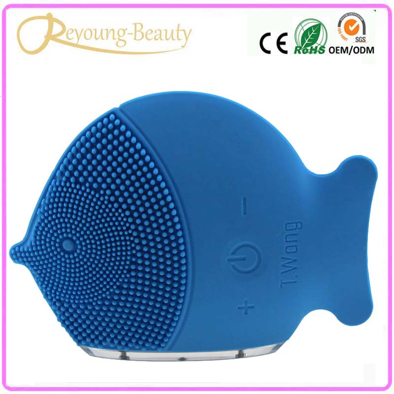 Rechargeable Waterproof Sonic Vibrating Electric Silicone Face Pores Cleaner Cleanser Washing Brush Massager For Skin Whitening electric rotating facial pores cleaning cleansing washing brush face cleaner cleanser skin exfoliator brightening machine