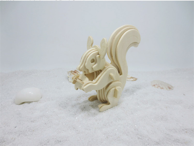 1set DS256 Wooden 3D Puzzle Toys Model Squirrel Shaped Jigsaw Toy for Children to Develop Skill Free Shipping Italy metal diy nano 3d puzzle model tiger tank kids diy craft 3d metal model puzzles 3d solid jigsaw puzzle