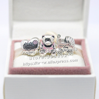 3pcs Fashion Jewelry Set S925 Silver Bear Baby Stroller Enamel Charms Bead Fit DIY Bracelet Necklaces Jewelry Making Woman Gift