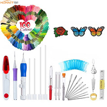 KOKNIT Magic Embroidery Punch Pen Needles Set DIY Craft 100pcs Thread Scissors Sewing Accessories With Case For Mom