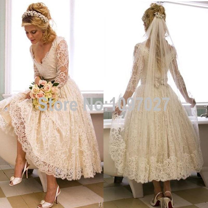 aliexpresscom buy vintage lace tea length wedding dress 2015 elegant three quarter sleeve bridal gowns vestido de noiva new casamento as189 from reliable