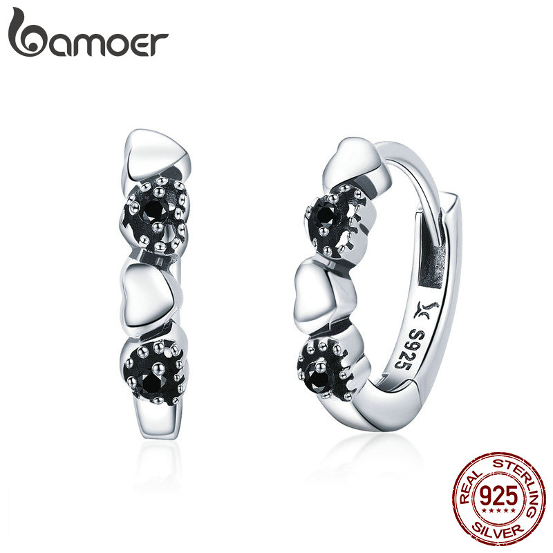 BAMOER Genuine 925 Sterling Silver Heart to Heart Hoop Earrings Silver for Women Sterling Silver Fine Jewelry Gift SCE445 pair of vintage rhinestoned heart hoop earrings for women