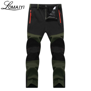 Image 2 - LOMAIYI NEW Mens Winter Casual Pants Men Fleece Lining Sweatpants Breathable Warm Mens Trousers Black Zipper Pants,AM201
