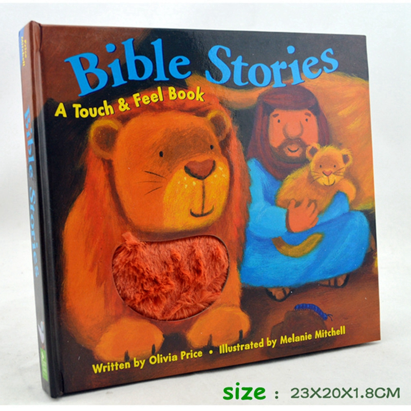 English Baby books Bible stories A touch & Feel book Plush touch feeling kids touching books touch and feel dinosaur touch