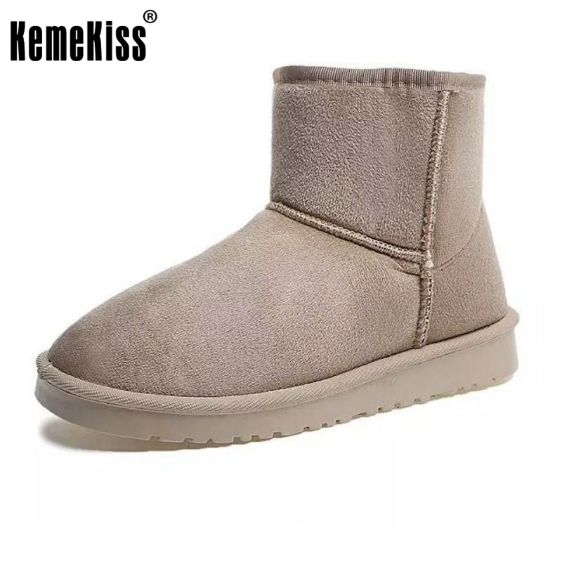 KemeKiss 6 Colors Women Half Short Boots Thick Fur Warm Botas Cold Winter Shoes Thick Fur Snow Botas Women Footwear Size 36-40