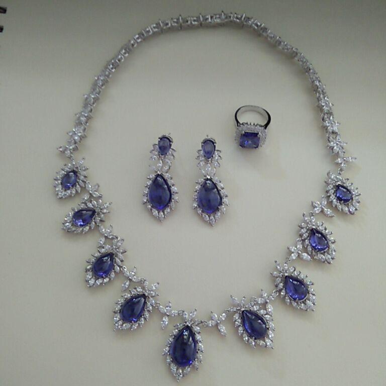 2017 Réel Qi Xuan_Trendy Jewelry_Luxury Bleu Pierre De Mariage/fête Bijoux Sets_S925 Argent Massif Sets_Manufacturer Directement Vente