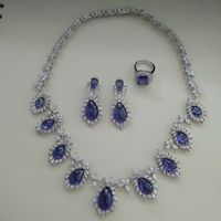 2017 Real Qi Xuan_Trendy Jewelry_Luxury Blue Stone Wedding/party Jewelry Sets_S925 Solid Silver Sets_Manufacturer Directly Sale