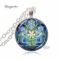 Handmade Red Blue Mandala Flower Necklace Silver Chain Amulet Jewelry Meditation Buddhism Choker Indian Jewellery Bijoux