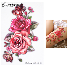 1 Piece Temporary Tattoo Sticker Colorful Rose Flower Design Women Shoulder Body Art Water Transfer Tattoo Sticker Fashion HB665