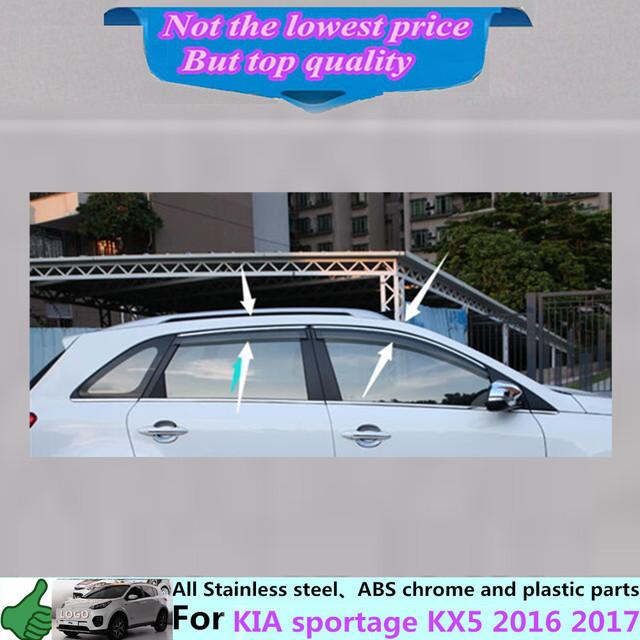 Para Kia Sportage KX5 2016 cuerpo 2017 coche cubierta de la lámpara de cristal de la Ventana de plástico Palo de Viento Del Visera Lluvia/Sol Guardia Vent 4 unids